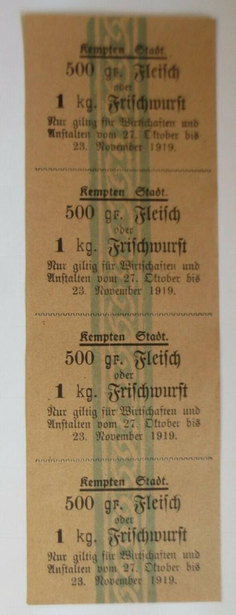 Lebensmittelkarten, Stadt Kempten Fleisch, Frischwurst, Oktober- Nov.1919♥(X122) 0