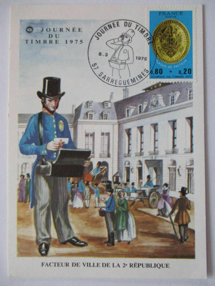 Frankreich, Maximumkarte Tag der Briefmarke 1975 (37455) 0