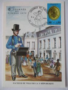 Frankreich, Maximumkarte Tag der Briefmarke 1975 (37455)