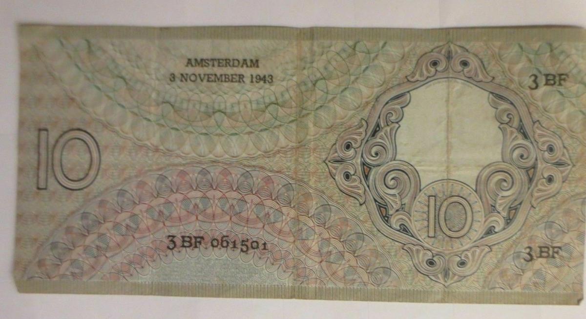 Niederlande 10 Tien Gulden, 3 BF. 061501,   Jahr  1943 ♥  (72282) 1