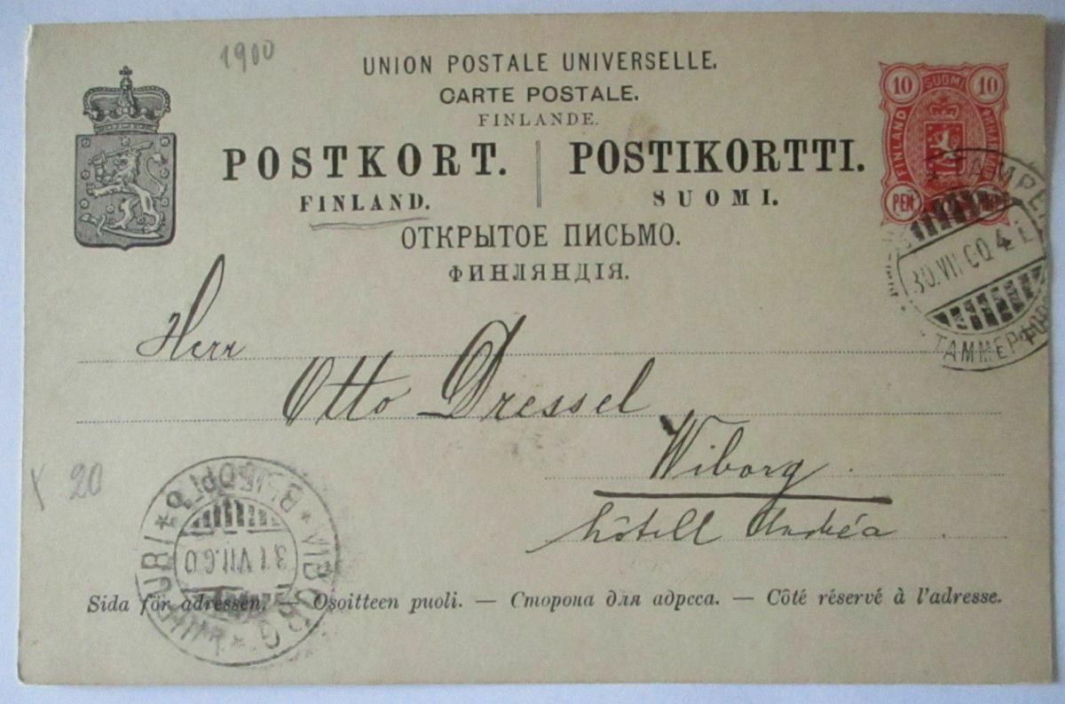 Finnland Ganzsache 1900 nach Wiborg 0