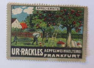 Vignetten  Apfel-Ernte Ur-Rackles Apfelweinkelterei Frankfurt a. M. 1910♥(35199)