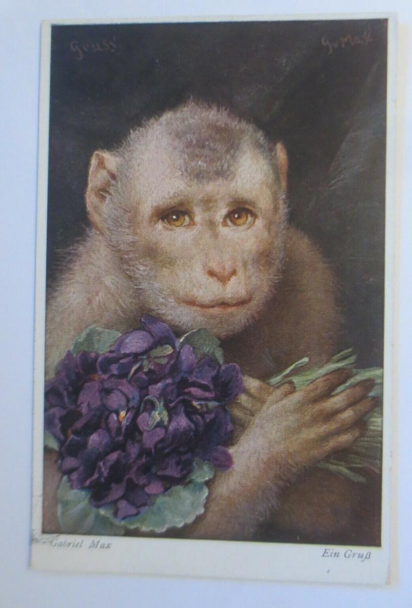 Affen, Blumen, Veilchen, Ein Gruß,    1950, Gabriel Max  ♥ (41408) 0