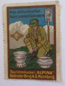 Vignetten Touristenkocher Alpina Gebr. Bing A.G. Nürnberg 1910  ♥ (35100)