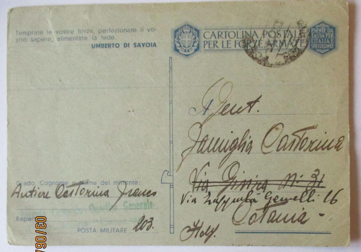 Italien Feldpost 1945 mit Patriotik-Spruch Umberto di Savoia (52625) 0