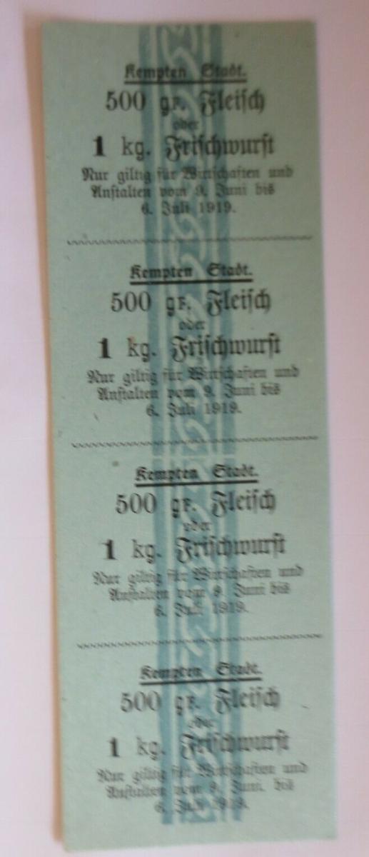 Lebensmittelkarten, Stadt Kempten  Fleisch, Wurst, Juni,   1919 ♥ (X104) 0