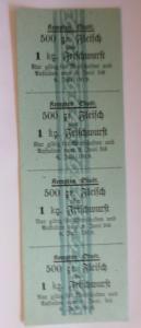 Lebensmittelkarten, Stadt Kempten  Fleisch, Wurst, Juni,   1919 ♥ (X104)