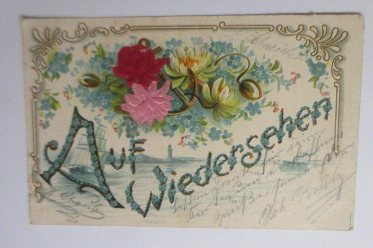 Blumen, Rosen, Seerosen, Auf Wiedersehen,   1905, Prägekarte ♥ (26242) 0