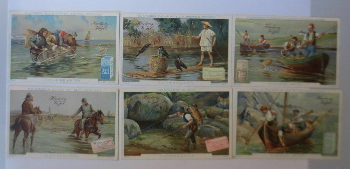 Kaufmannsbilder, Hartwig Vogel- Tell Chocolade, Fischereiarten S.75, 1-6♥ 0