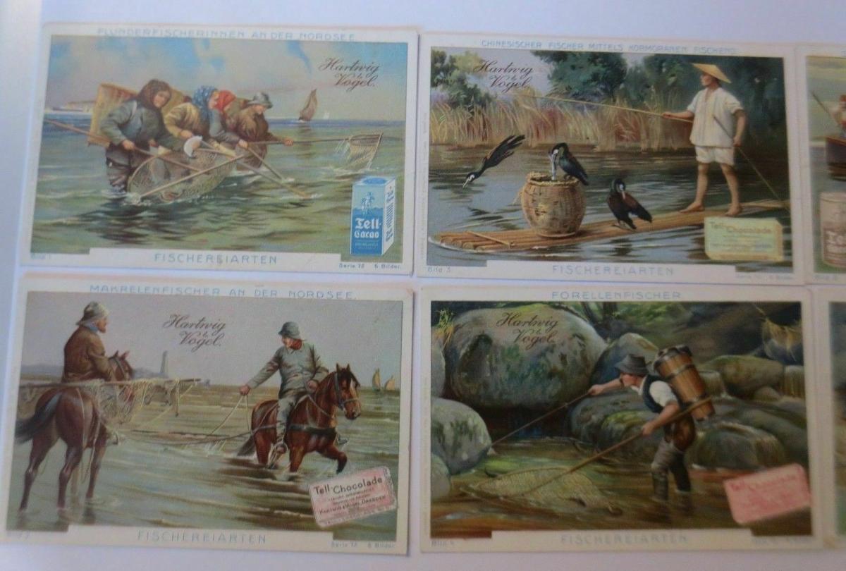 Kaufmannsbilder, Hartwig Vogel- Tell Chocolade, Fischereiarten S.75, 1-6♥ 1