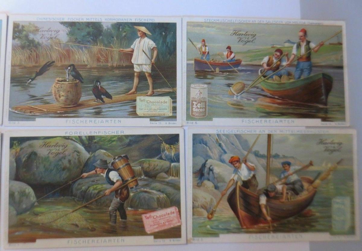 Kaufmannsbilder, Hartwig Vogel- Tell Chocolade, Fischereiarten S.75, 1-6♥ 2