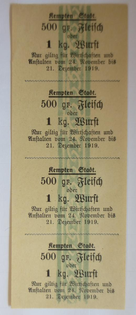 Lebensmittelkarten, Stadt Kempten  Fleisch, Wurst, November,Dezember,1919♥(X116) 0