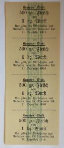 Lebensmittelkarten, Stadt Kempten  Fleisch, Wurst, November,Dezember,1919♥(X116)