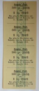 Lebensmittelkarten, Stadt Kempten  Fleisch, Wurst, November,Dezember,1919♥(X115)