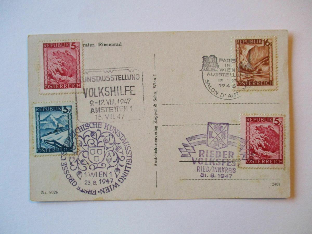 Österreich, 4 Sonderstempel von 1947 auf Ansichtskarte Prater Riesenrad 0