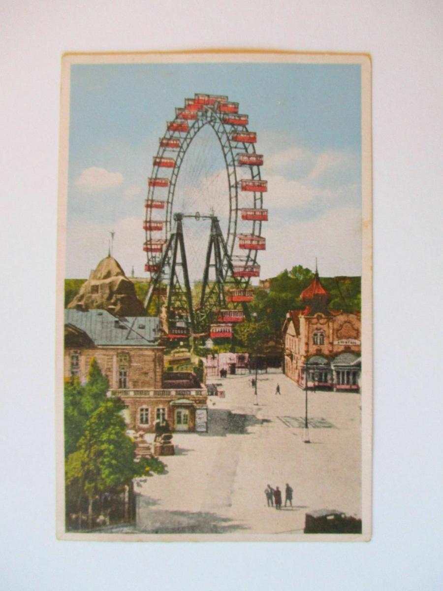 Österreich, 4 Sonderstempel von 1947 auf Ansichtskarte Prater Riesenrad 1