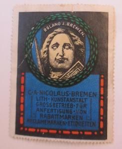 Vignette C.A. Nicolaus-Bremen Litho-Kunstanstalt Rabattmarken 1900 ♥ (35779)