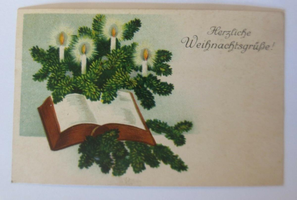 Weihnachten, Kerzen, Tannenzweige, Buch, 1931  ♥  (19044) 0