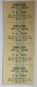 Lebensmittelkarten, Stadt Kempten  Fleisch, Wurst, November,Dezember,1919♥(X112)