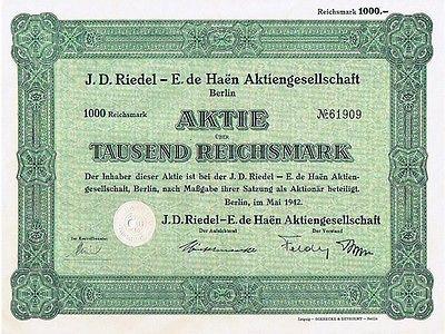 23413 HWP / J.D.RIEDEL E.de HAEN AG - 1000 RM Aktie - Berlin 1942