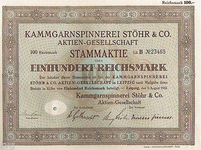 23416 HWP / KAMMGARNSPINNEREI STÖHR & CO AG, 100 RM