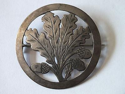 Schöne runde alte Brosche, Eichenlaub, Silber 800 gestempelt, 4,5cm Durchmesser