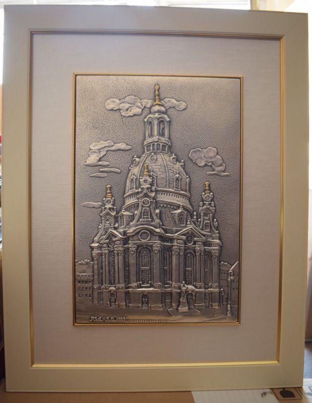 Bild Frauenkirche Dresden, Silber 925-er, 48cm x 38cm, RS & HS 1997, Top Zustand