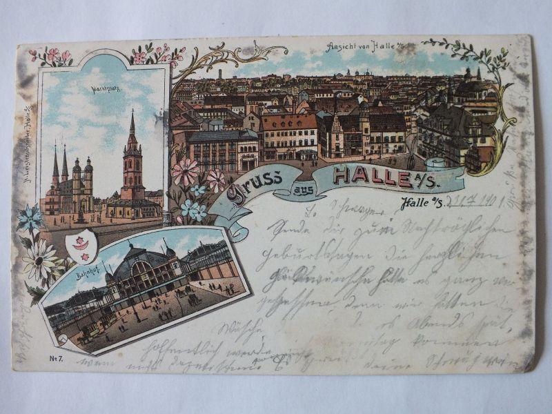 Ak Halle, Litho, Ansicht von Halle, Bahnhof, Markt, 1901 gel., Leistenschneider