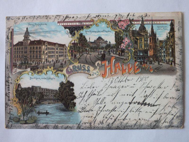 Ak Halle Gruß aus Halle, Litho, Post, Kleinschmieden, Theater, 1900 gel.