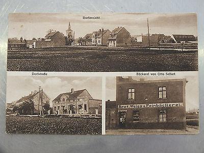 AK Gruß aus Sennewitz Halle, Dorfansicht, Dorfstr. Bäckerei Otto Seifart um 1920 0