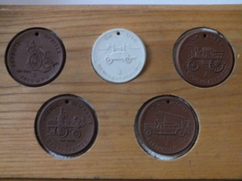 Meissen, 5 Medaillen 100 Jahre Freiwillige Feuerwehr Riesa 1874-1974