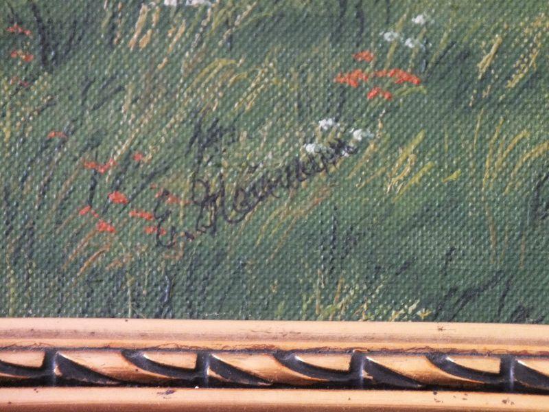 Schönes Ölgemälde, Heidelandschaft, Öl auf Leinwand, schöner Rahmen, signiert!!! 1