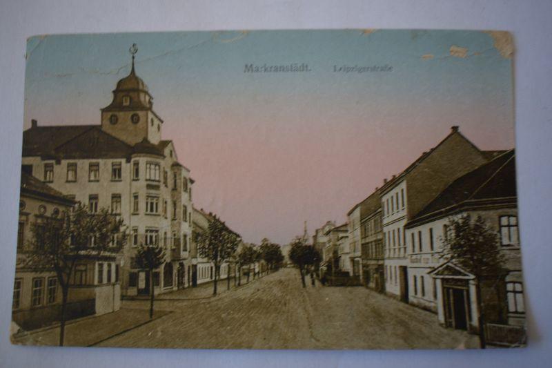 Ak Markranstädt  Leipziger Straße, 1927 gelaufen, oben rechts beschädigt