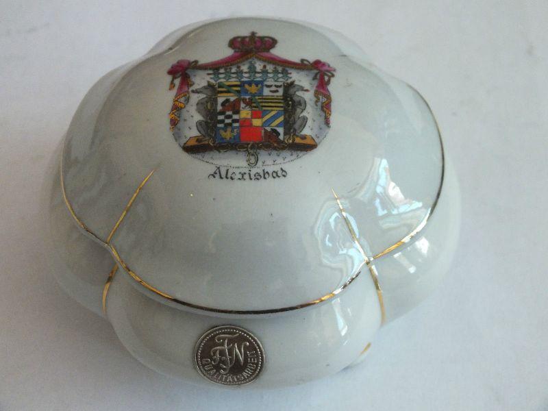 Zierdose, kleine Porzellandose, Anhaltisches Wappen, Alexisbad, top Zustand
