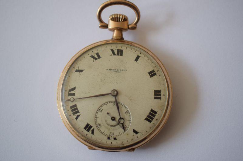 Taschenuhr Gold 585, M.Herz & Sohn Wien, Werk Swiss Movado 1910, läuft top! 0