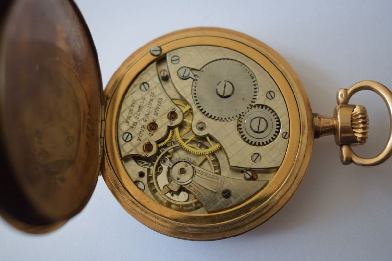 Taschenuhr Gold 585, M.Herz & Sohn Wien, Werk Swiss Movado 1910, läuft top! 4