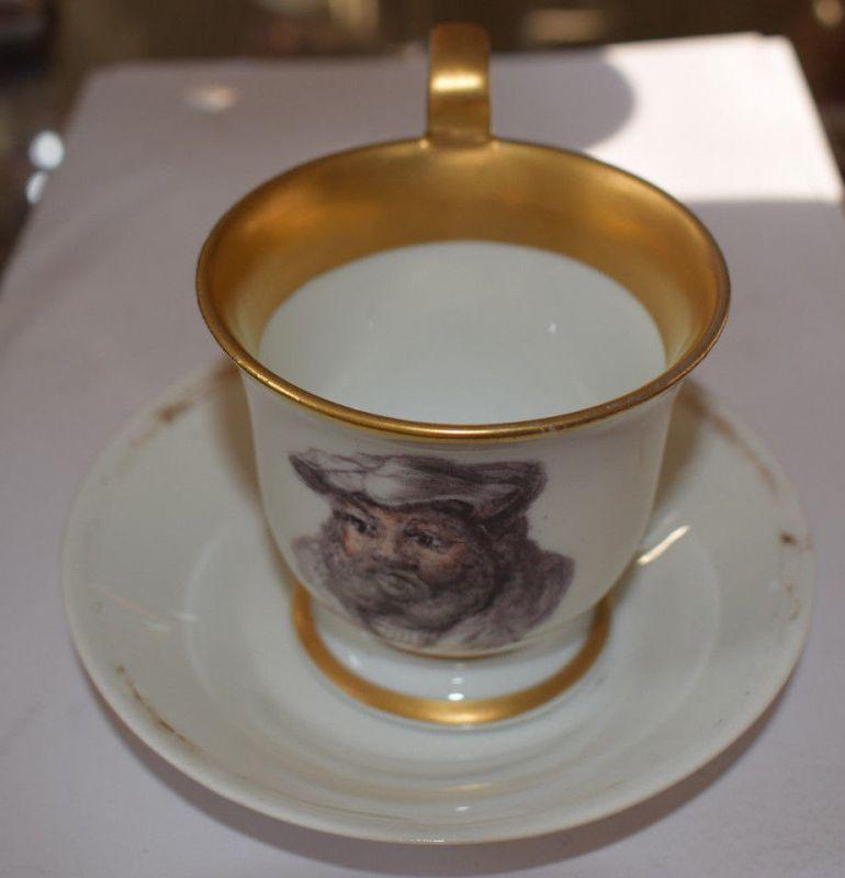 Meissen Tasse, Bild von Melanchthon, Friedrich der Weise unterglasurblaue Marke