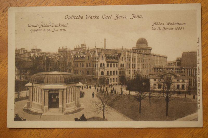 AK Jena, Optische Werke Carl Zeiss, Ernst Abbe-Denkmal, Abbes Wohnhaus, 1912 gel