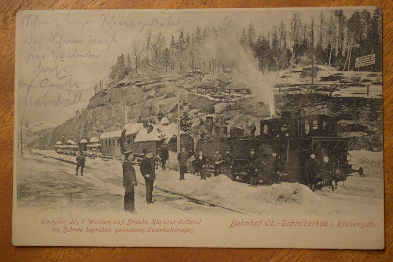 AK Bahnhof Ob.- Schreiberhau i. Riesengebirge, 1905 gelaufen