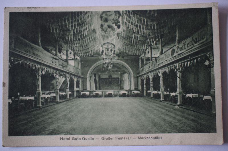 AK Markranstädt, Hotel Gute Quelle, Großer Festsaal, 1929 gelaufen,