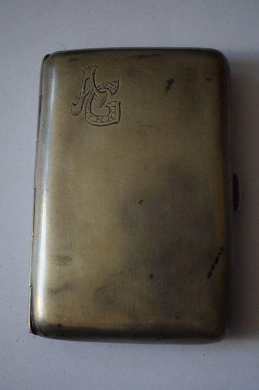 Alte Zigarettendose mit Initialien AG, 800 Silber , 72g