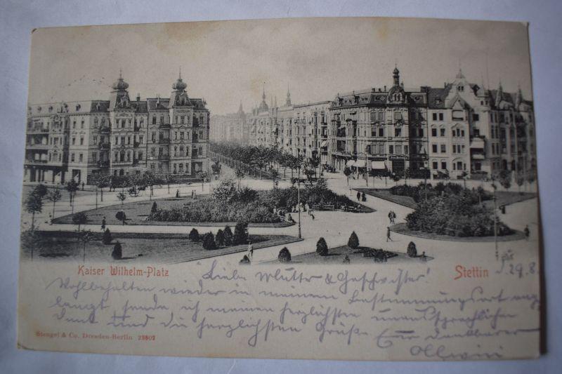 Ak Stettin, Szczecin, Kaiser-Wilhelm-Platz, 1902 gelaufen 0