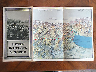 Luzern Interlaken Montreux, Werbung, Landkarte, Hotel Berghaus Jungfernjoch 1930
