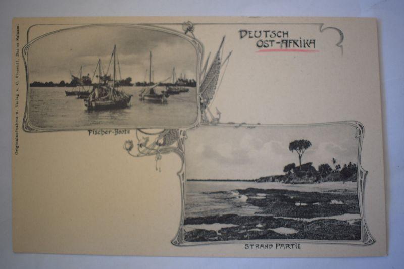 Ak Deutsch-Ost-Afrika, Fischer-Boote Strand-Partie, nicht gelaufen
