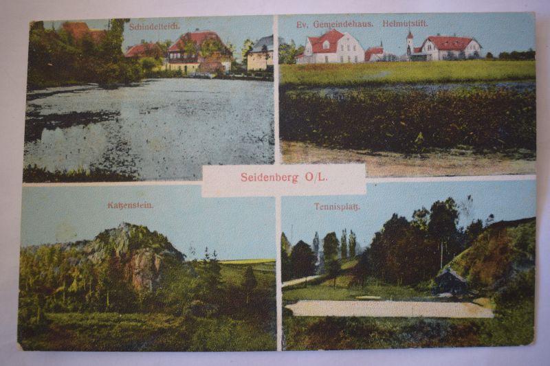 Ak Seidenberg O.-Lausitz, Gemeindehaus, Tennisplatz, nicht gelaufen, um 1900 0