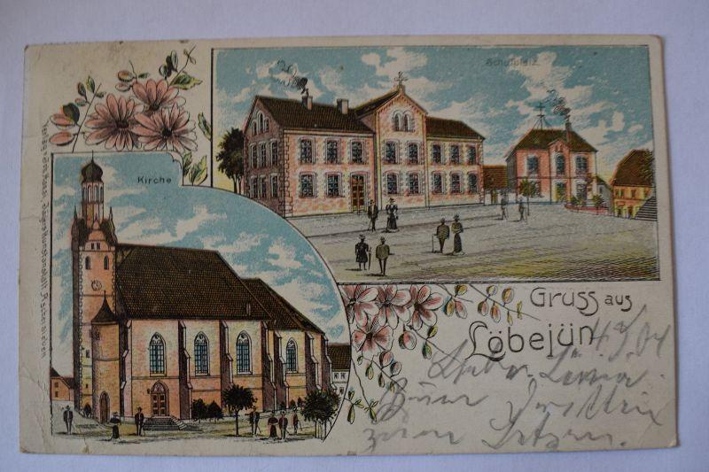 Ak Gruss aus Löbejün, Schulplatz, Kirche 1907 gelaufen