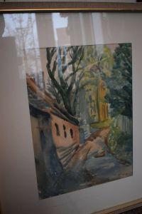 Fotis Zaprasis, Petri-Kloster in Merseburg, Aquarell, von 1966, 64cm x 72cm