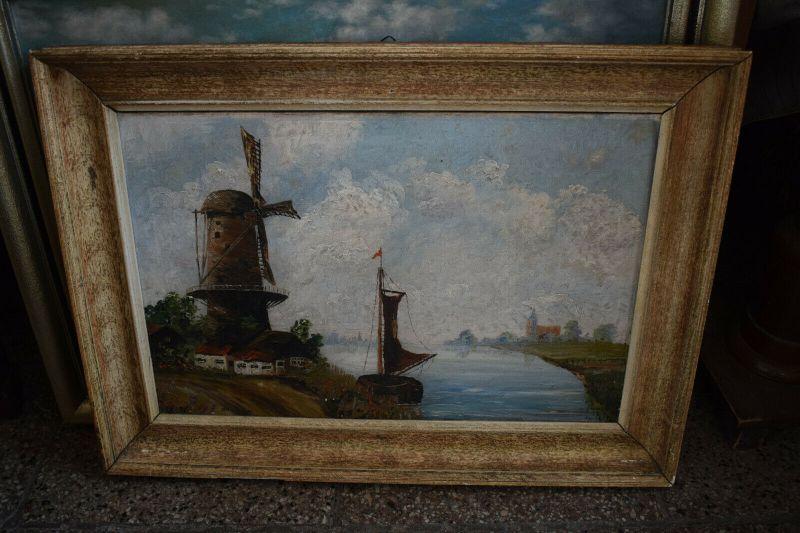 Schönes Ölgemälde, Holländische Szene mit Windmühle, signiert
