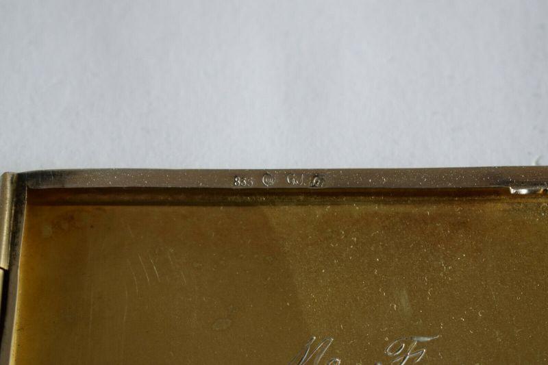 Zigarettenetui, Silber 835 Halbmond Krone, von 1941, Monogramm H L 3