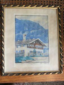 Aquarell Oberstdorf, signiert Walter, 1924 im Rahmen, Top Zustand